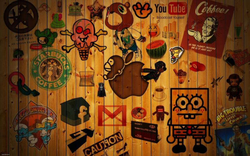 apple_cartoon_wood_texture wallpaper