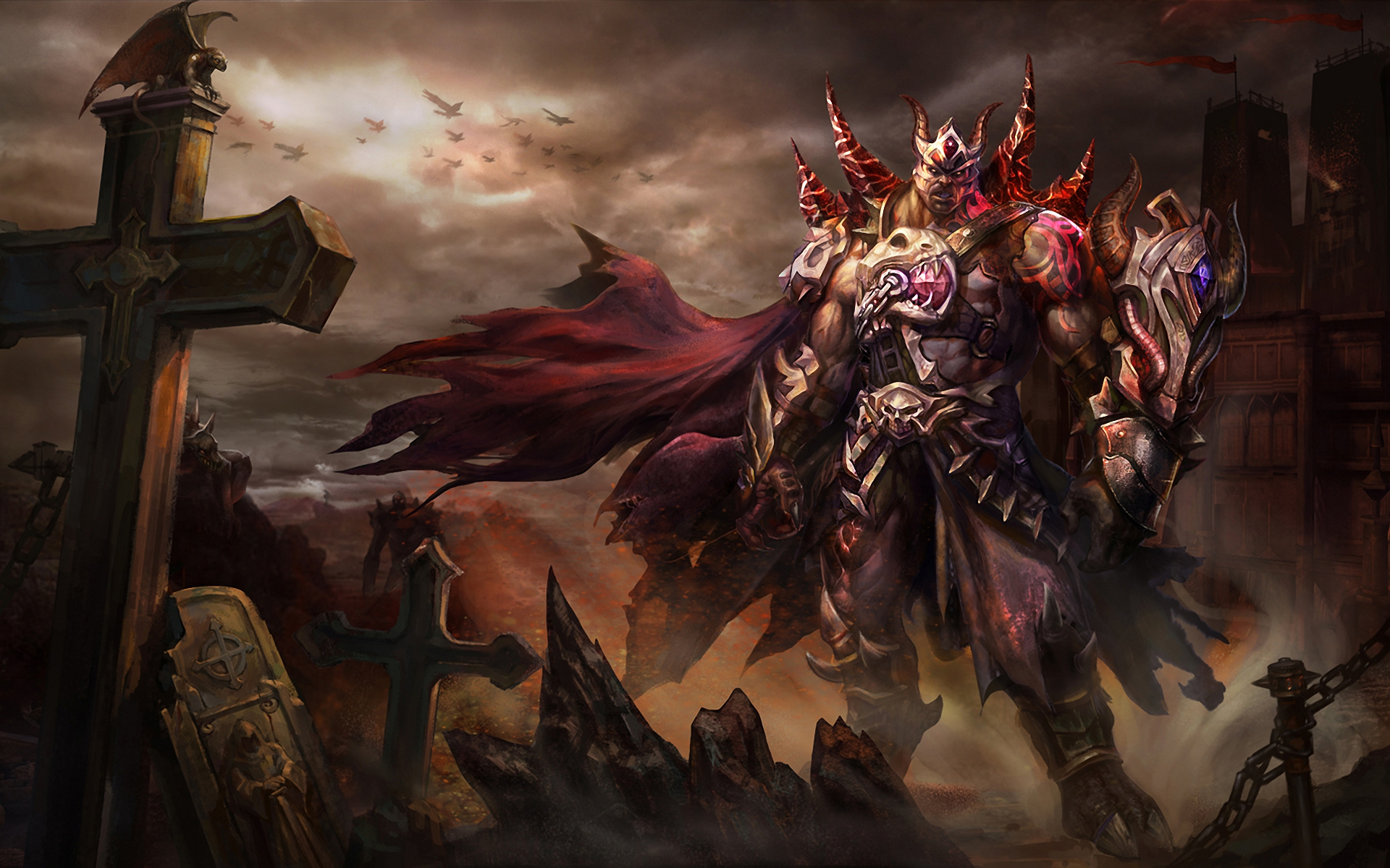 Art Demon Armor Sparks Crosses Lock Fantasy Warrior Warriors Dark Cross Battlefield Wallpaper