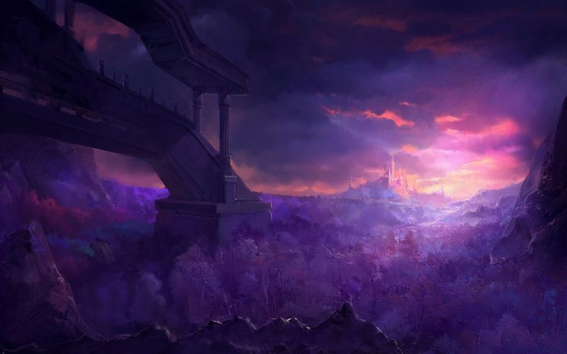 art fantasy landscape forest mountain city castle sunset evening construction painting paintings wallpaper