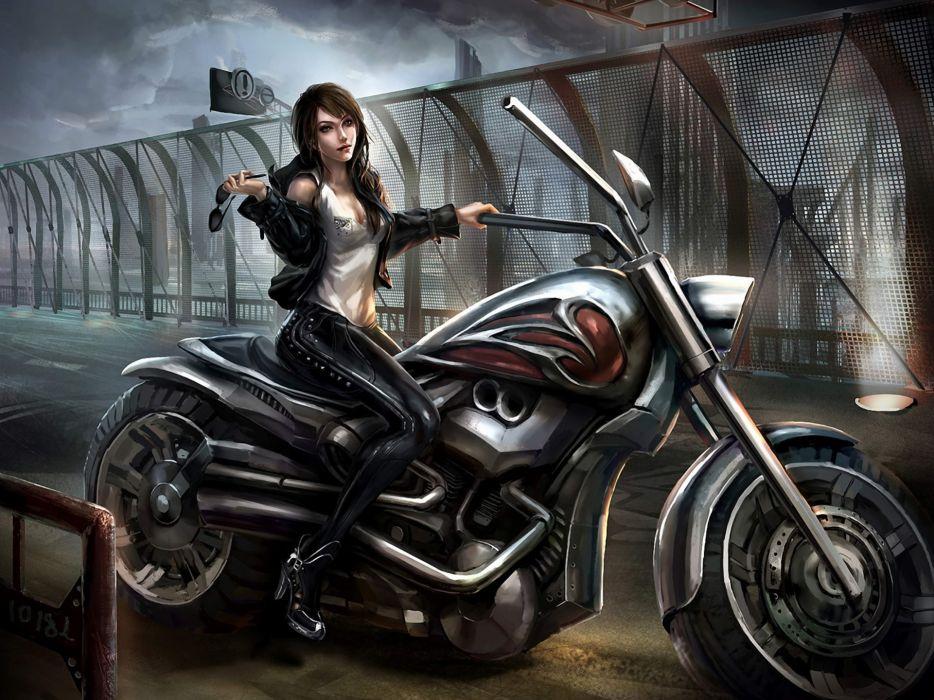 Art girl motorcycle goggles latex bridge girls original wallpaper