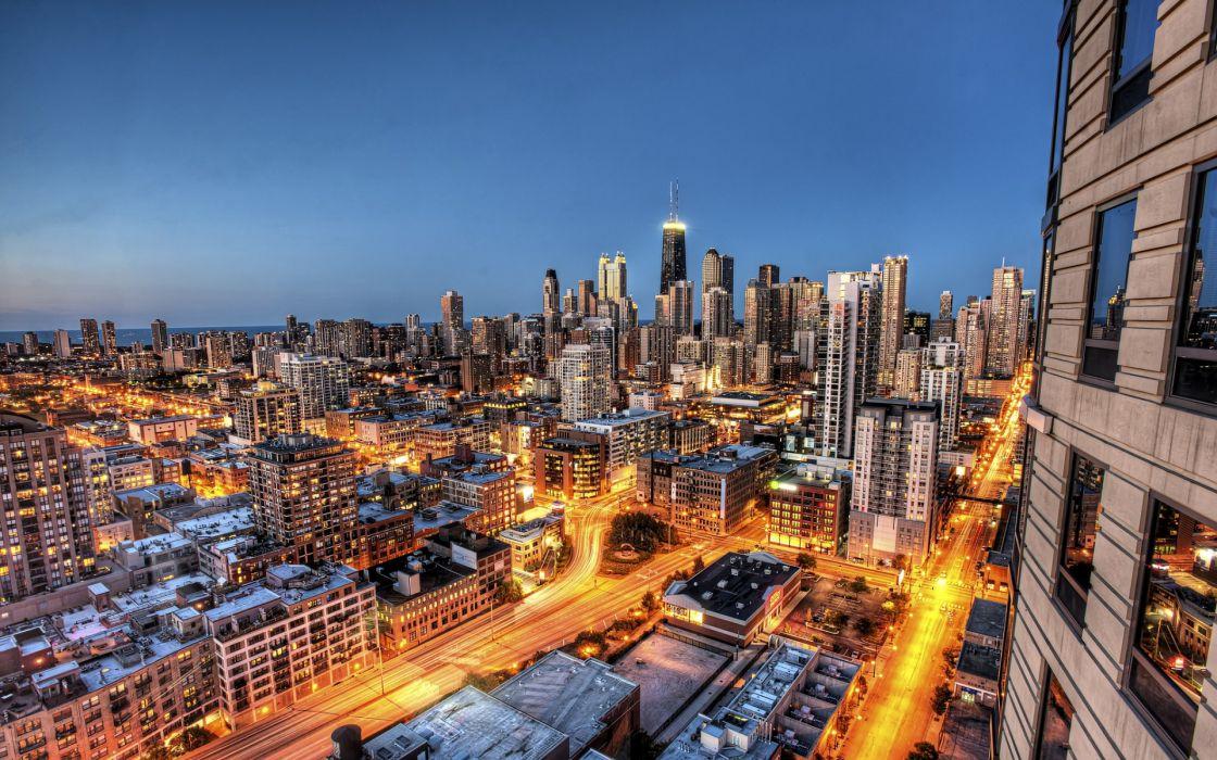 Chicago Illinois city night skyscraper skyscrapers buildings houses exposure wallpaper