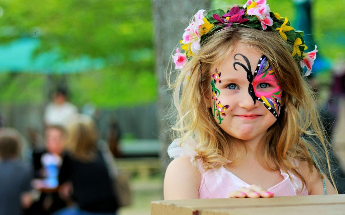 color face child mask butterfly wallpaper