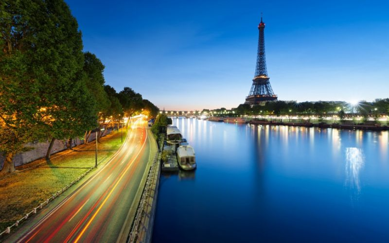 eiffel tower monument rivers roads reflection wallpaper