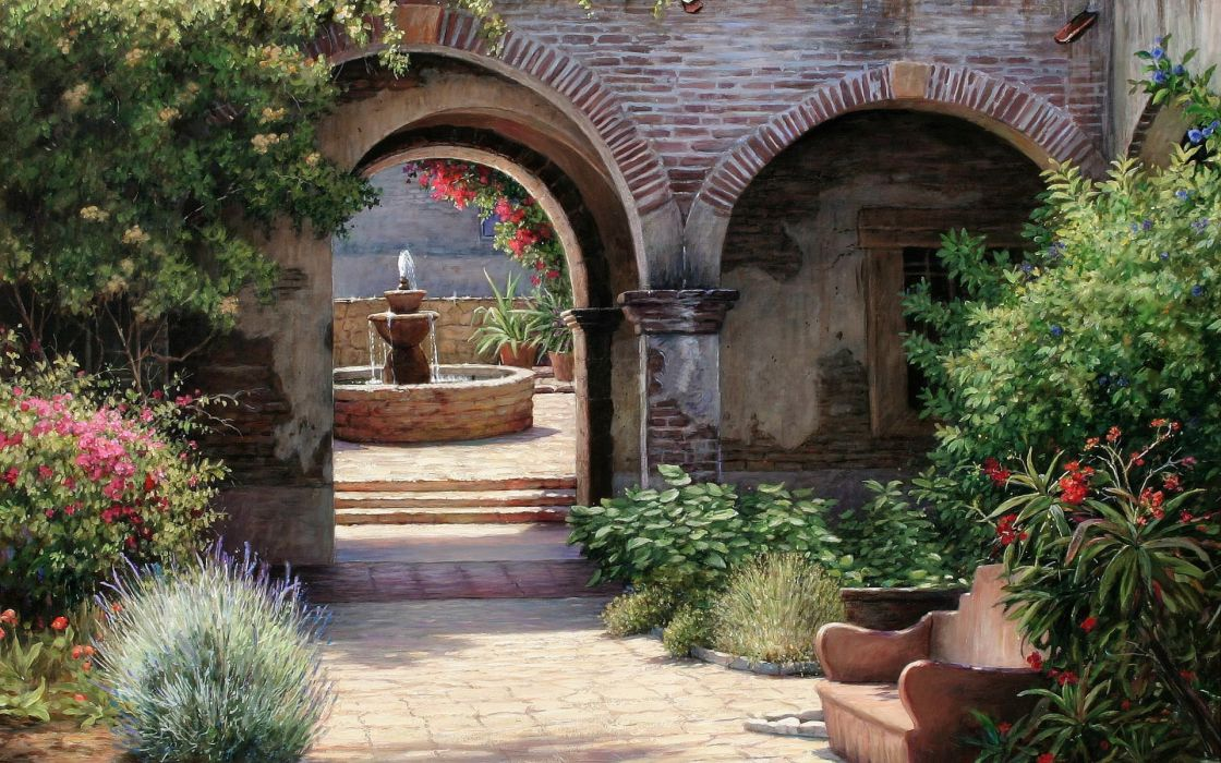 garden villa patio fountain fountains flowers flower plants path trail art painting paintings wallpaper