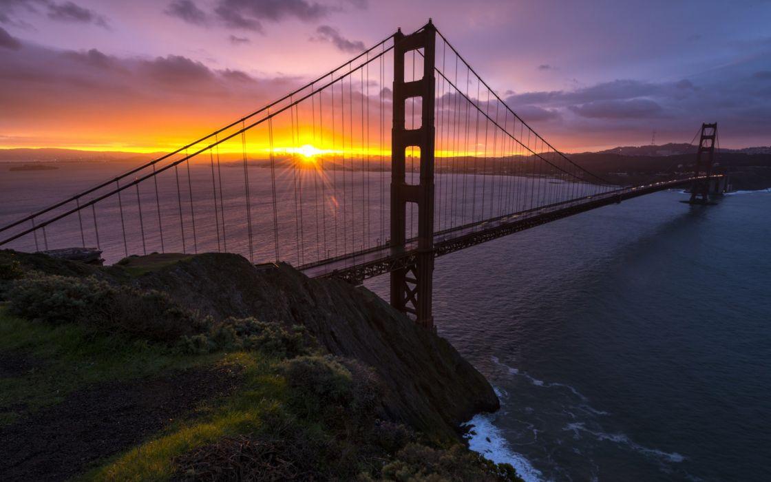 Golden Gate Bridge San Francisco bay ocean sea roads sunset sky wallpaper