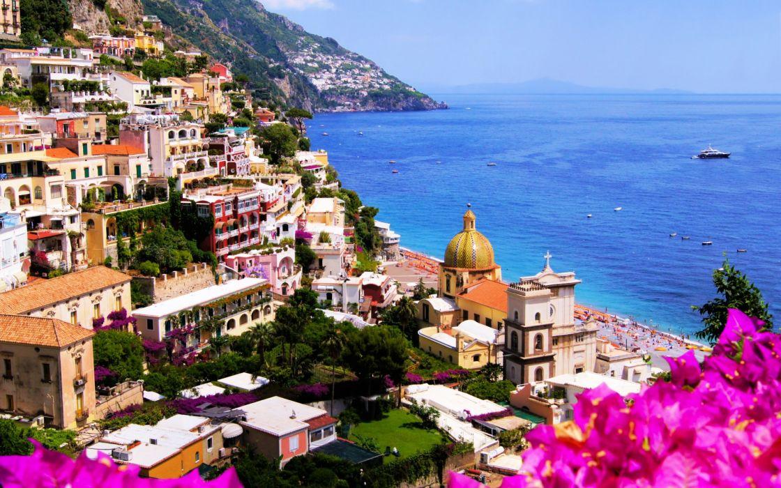 Italy city rocks houses cathedral coast sea rocks flowers nature landscape ocean building buildings wallpaper