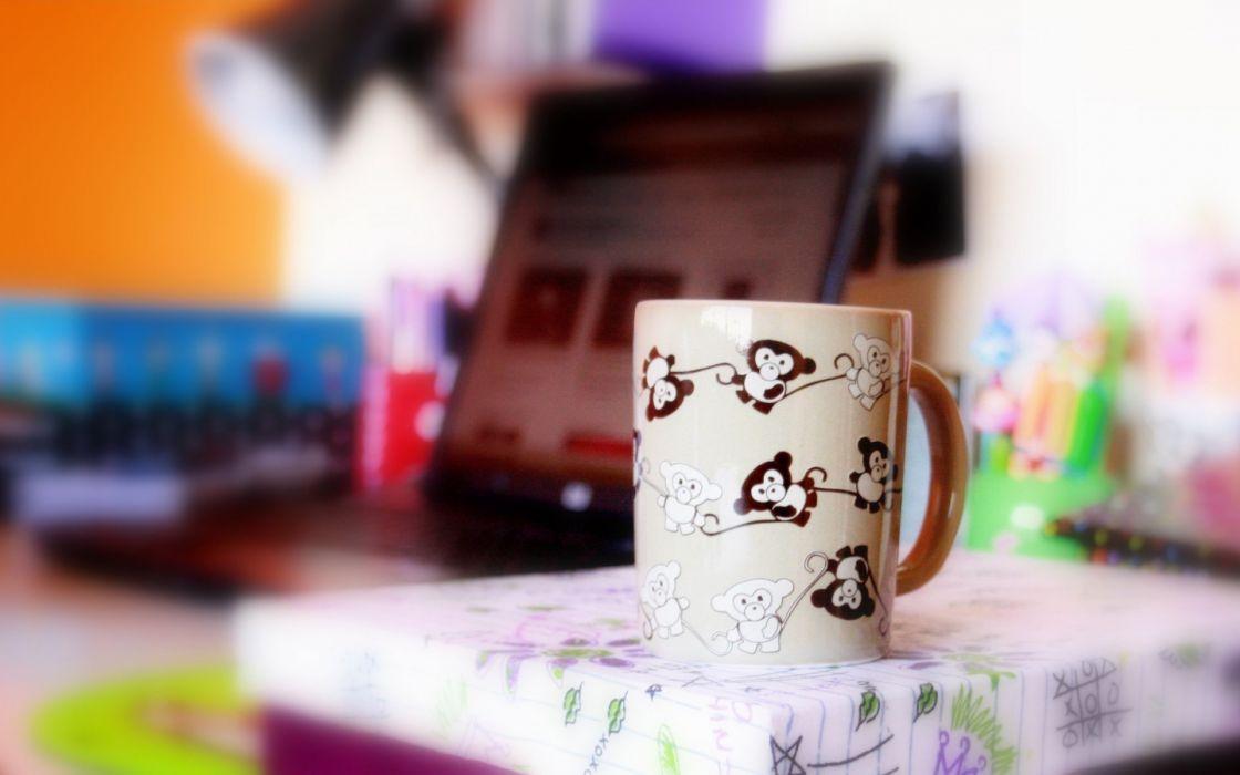 mood cup mug bright monkey bokeh wallpaper