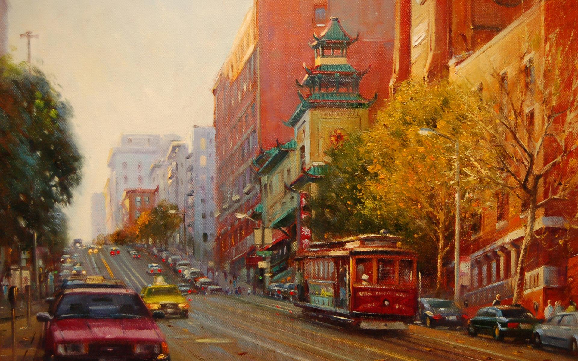 painting old beautiful train - photo #33