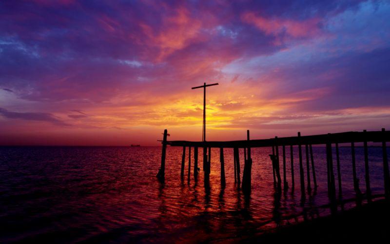 pier beach night sunset dock ocean sea sky clouds wallpaper