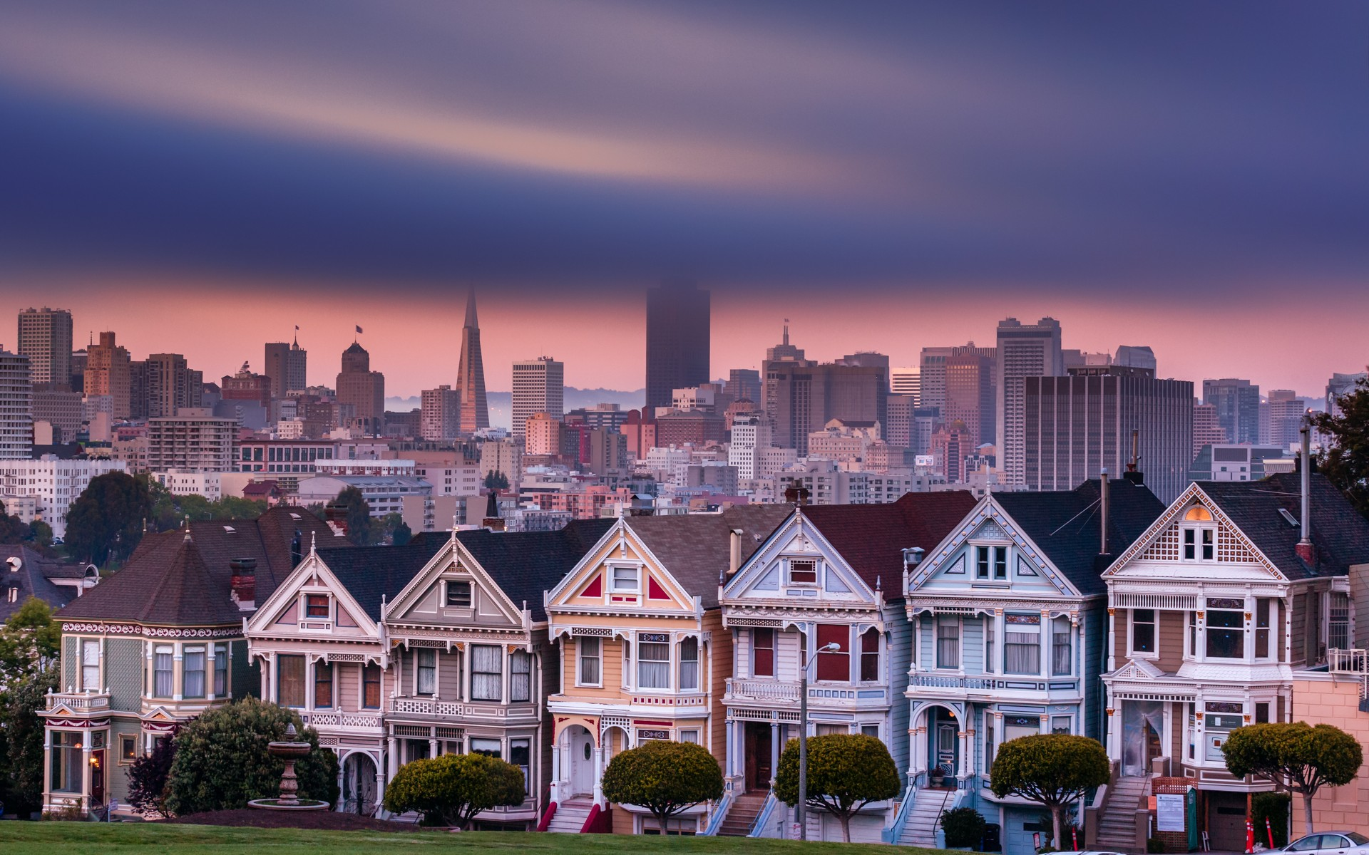 San francisco city cities buildings building clouds houses for Wallpaper with houses on it