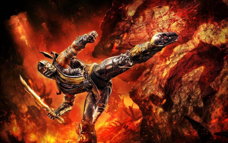 scorpion mortal kombat fire weapon weapons sword swords warrior warriors wallpaper