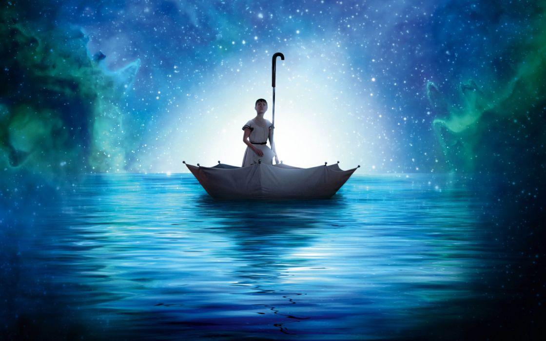 umbrella bokeh mood water sailing girl girls stars star nebula fantasy creative wallpaper