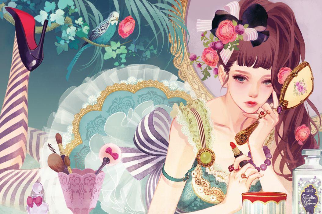 animal bird flowers matsuo hiromi original girl girls wallpaper