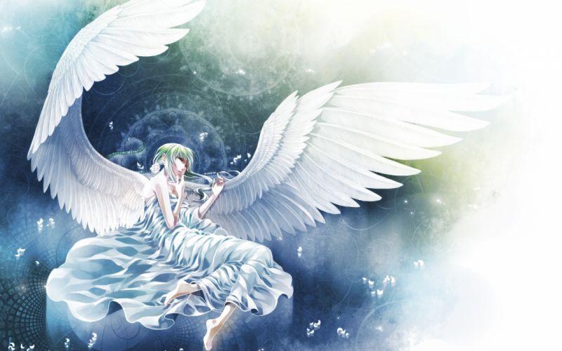 Anime angel girl Sword original girls wings mood wallpaper