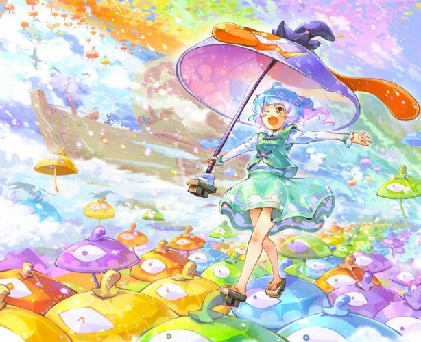 boat houjuu nue im (badmasa) nazrin tatara kogasa touhou umbrella wink wallpaper