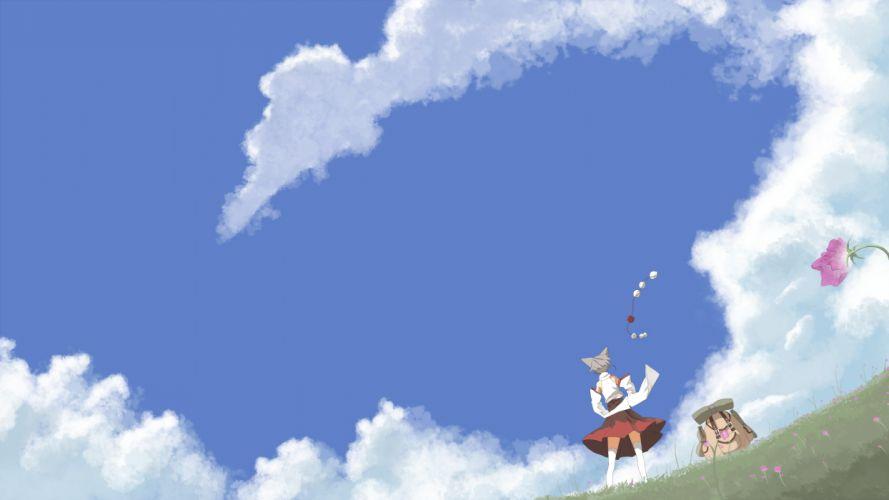 clouds flowers grass inubashiri momiji scenic seu (hutotomomo) skirt sky thighhighs touhou wolfgirl zettai ryouiki wallpaper