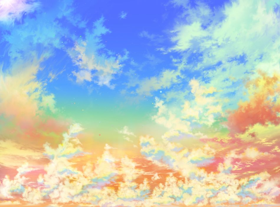 clouds iy tujiki original scenic sky stars sunset wallpaper