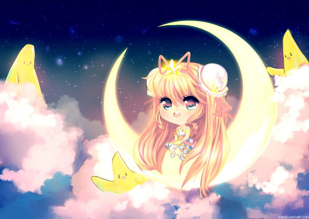Ehbi original girl girls moon wallpaper