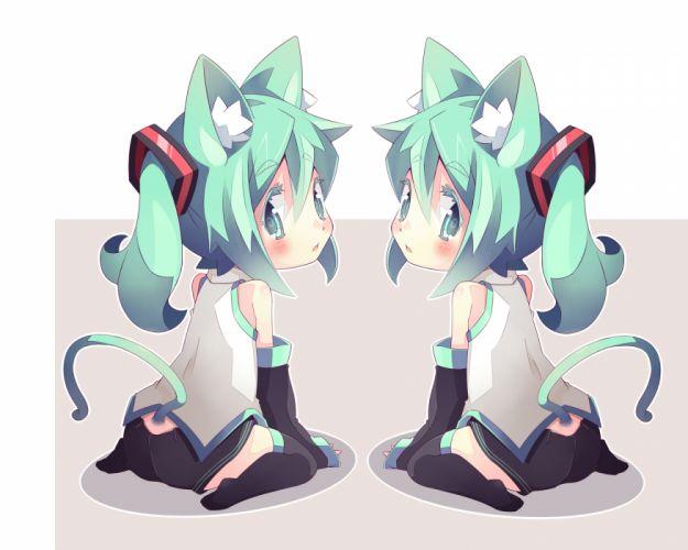 girls animal ears catgirl hatsune miku shiitake tail vocaloid wallpaper