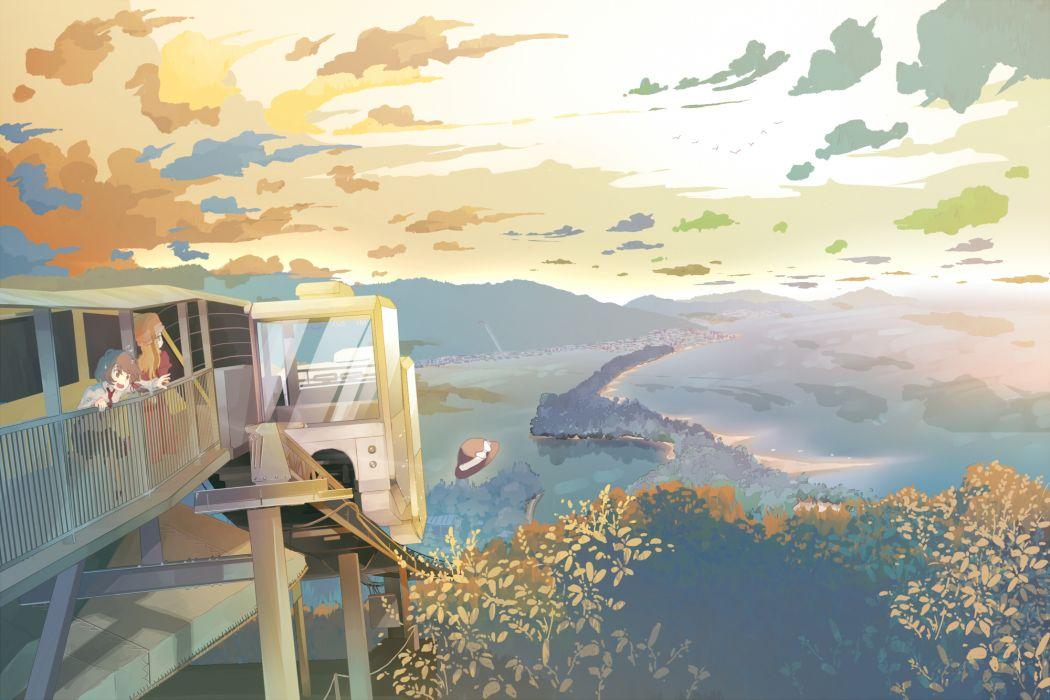 hat landscape maribel han scenic shinta (hmmuk) sky touhou usami renko wallpaper