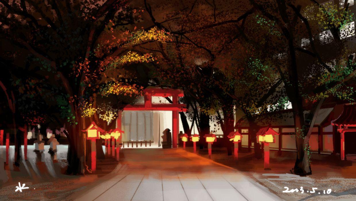 original scenic shuizhanglang torii tree wallpaper