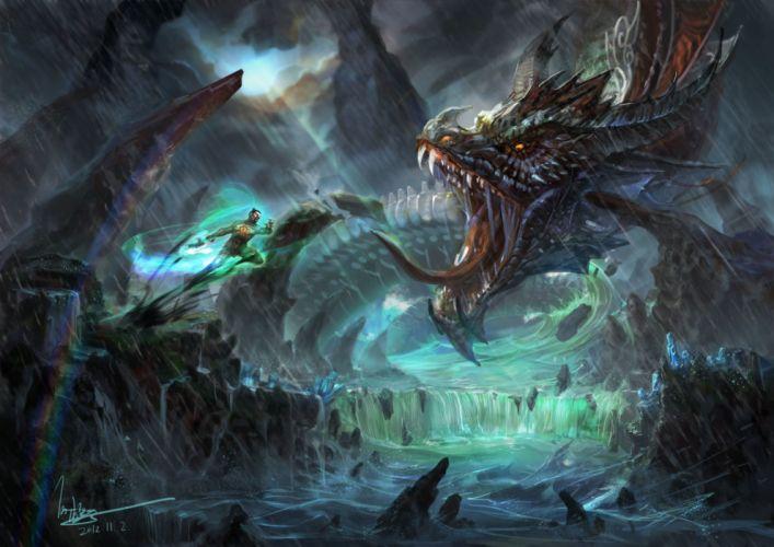 Battles Monsters Fantasy dragon dragons warrior warriors wallpaper