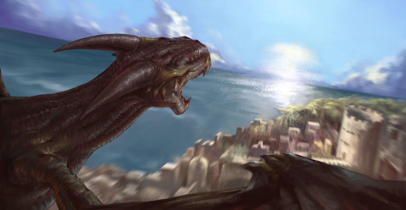 Dragons Horns Fantasy dragon castle city cities wallpaper