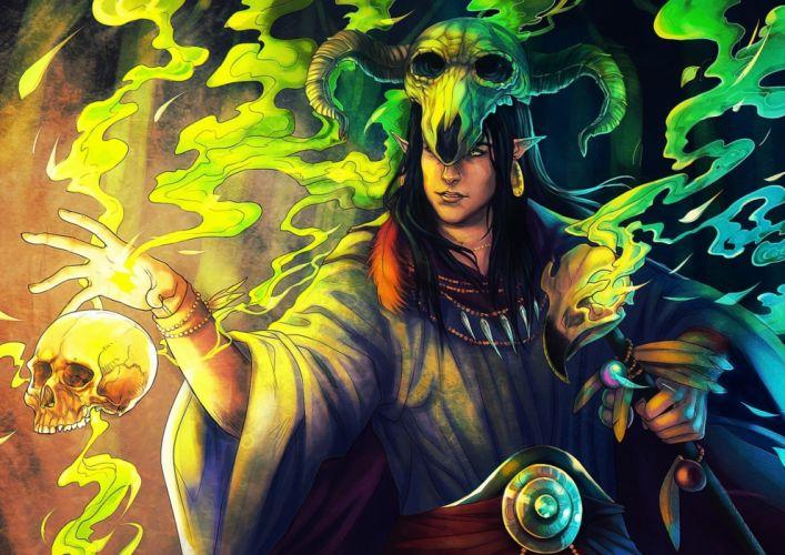 Magic Man Skulls Helmet Fantasy elf elves skull wallpaper