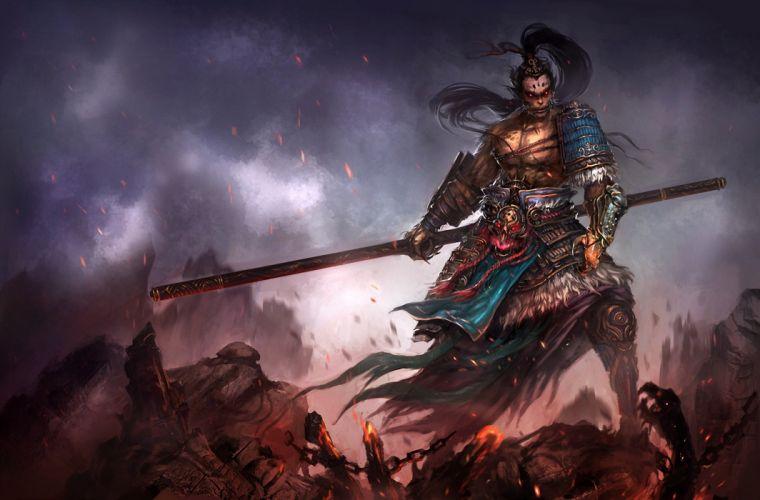 Warriors Man Armor Fantasy warrior elf elves dark wallpaper