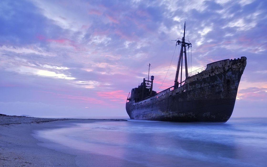ship shipwreck ocean beached wreck rust rusty
