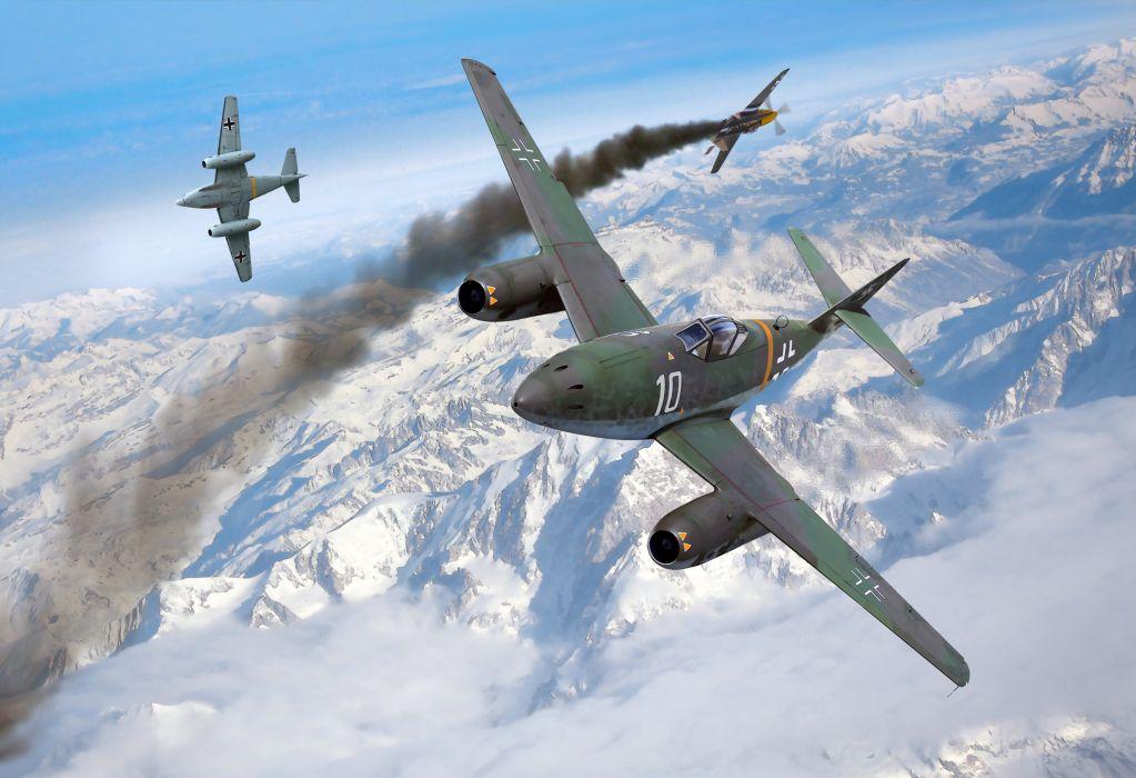 Airplane Painting Art Messerschmitt Me 262 Schwalbe Flight Aviation military wallpaper