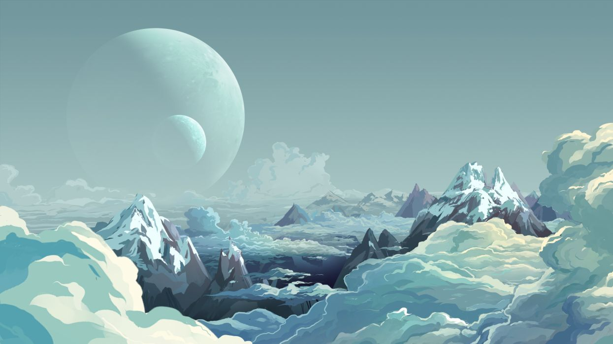 Alien Landscape Planets Mountains Clouds Drawing landscapes planet art wallpaper