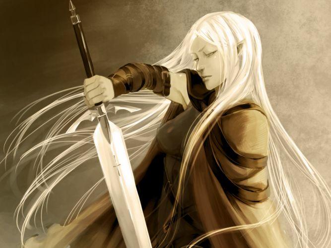 claymore weapons sword elf elves fantasy wallpaper