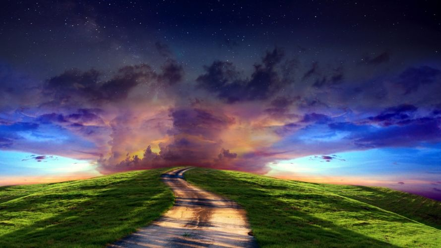 clouds sunset sky stars roads path trail landscapes wallpaper