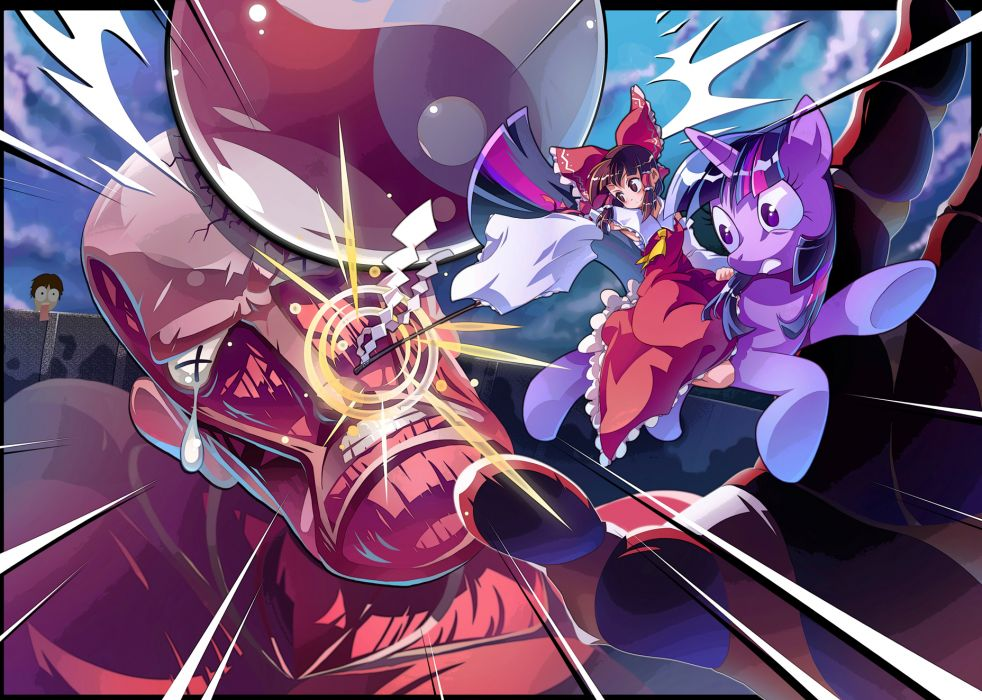 colossal titan crossover eren jaeger hakurei reimu my little pony shingeki no kyojin touhou twilight sparkle zxyon2008 wallpaper