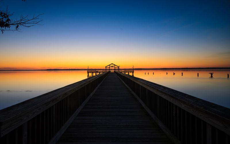 dock pier sunset lakes lake sky reflection wallpaper