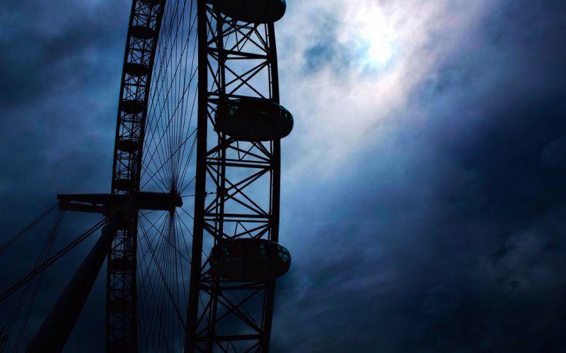 Ferris Wheel Clouds mood wallpaper