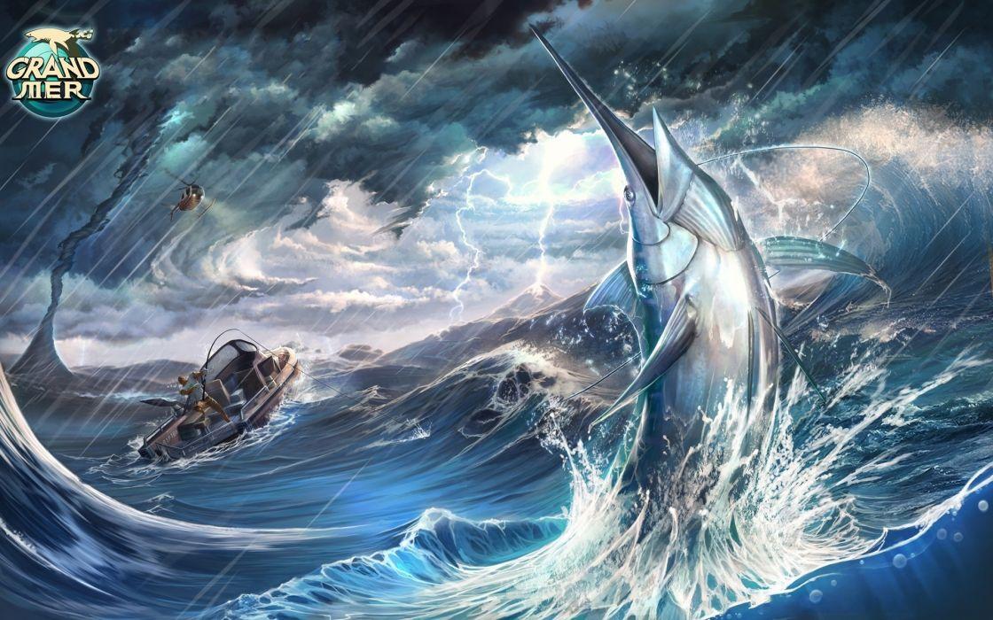 fish marlin Animals storm ocean sea fishing rain wallpaper