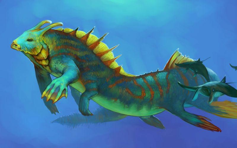 fish monster monsters creature creatures fantasy dinosaur underwater ocean sea wallpaper