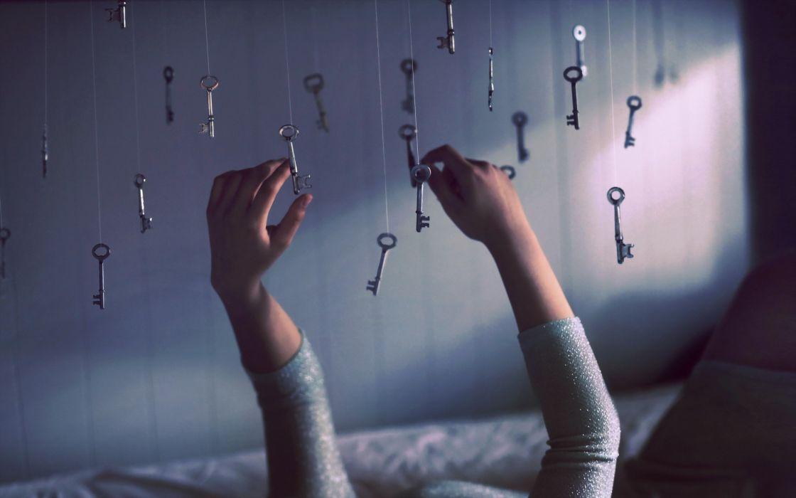 key keys hands mood bokeh wallpaper