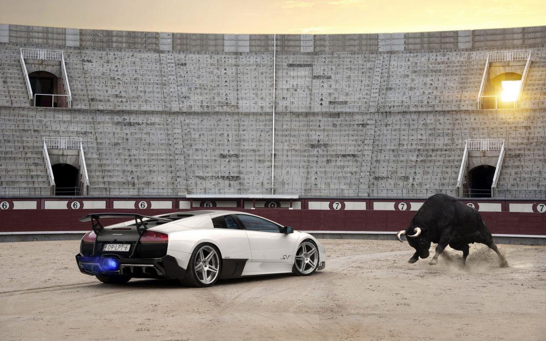 Lamborghini Murcielago SV Bull Arena Sunlight Flame Backfire supercar supercars wallpaper