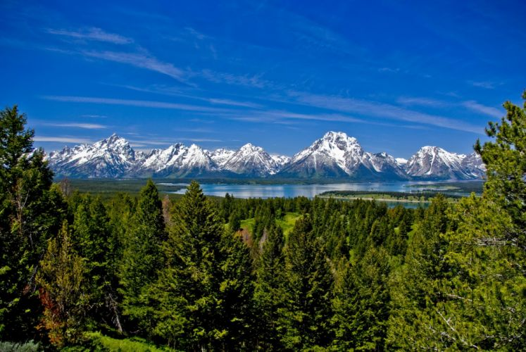 mountains nature trees forest lakes sky wallpaper