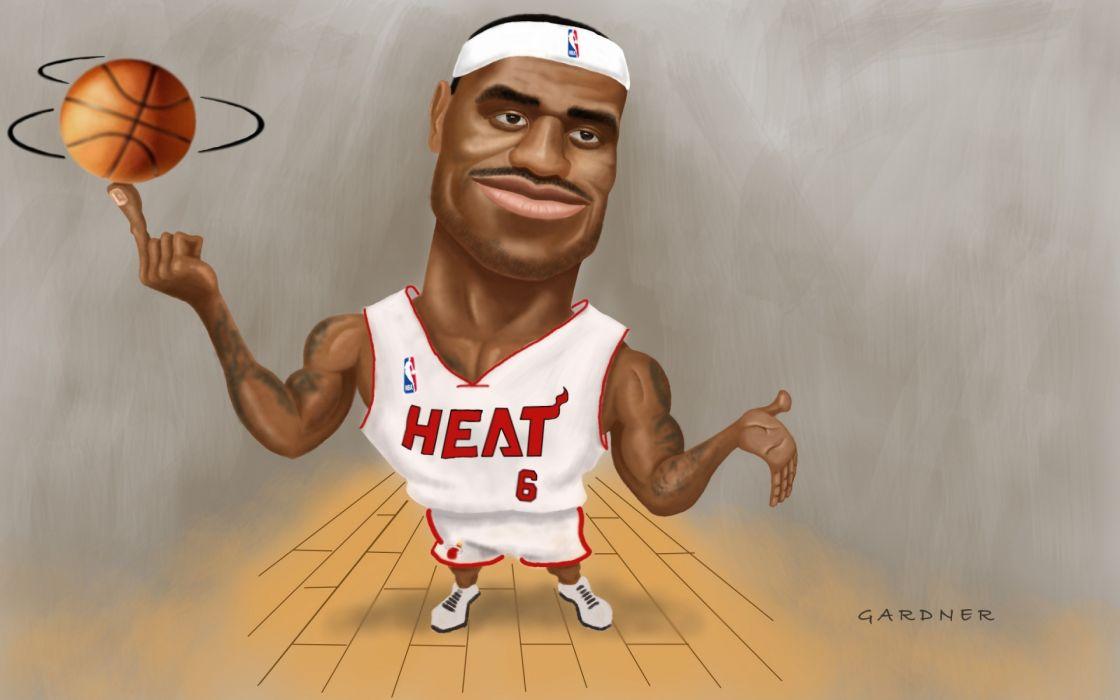 nba basketball artwork lebron james miami heat wallpaper