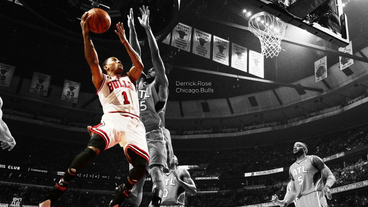 nba basketball derrick rose selective coloring bulls chicago bulls atlanta hawks wallpaper