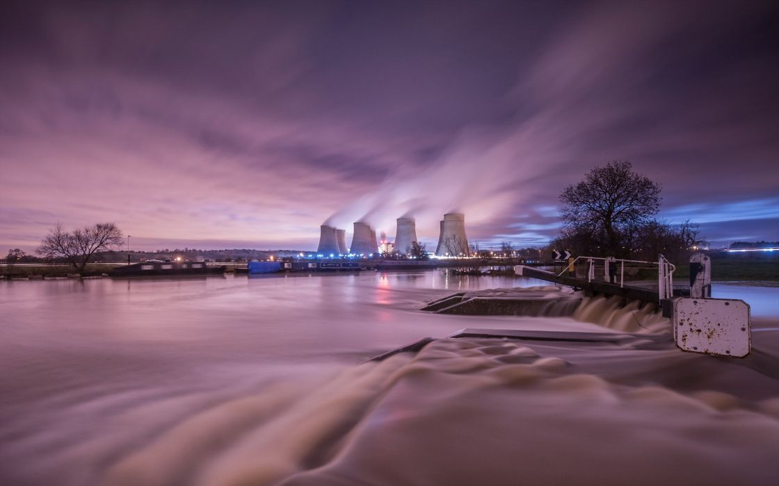 Nuclear Power Plant Power Plant Night Timelapse River Steam reflection electricity steam sky tech mech wallpaper
