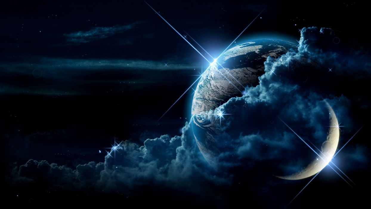 outer space planets moon earth planet sci-fi stars wallpaper