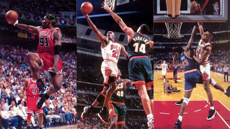 sports nba basketball michael jordan chicago bulls dennis rodman scottie pippen wallpaper