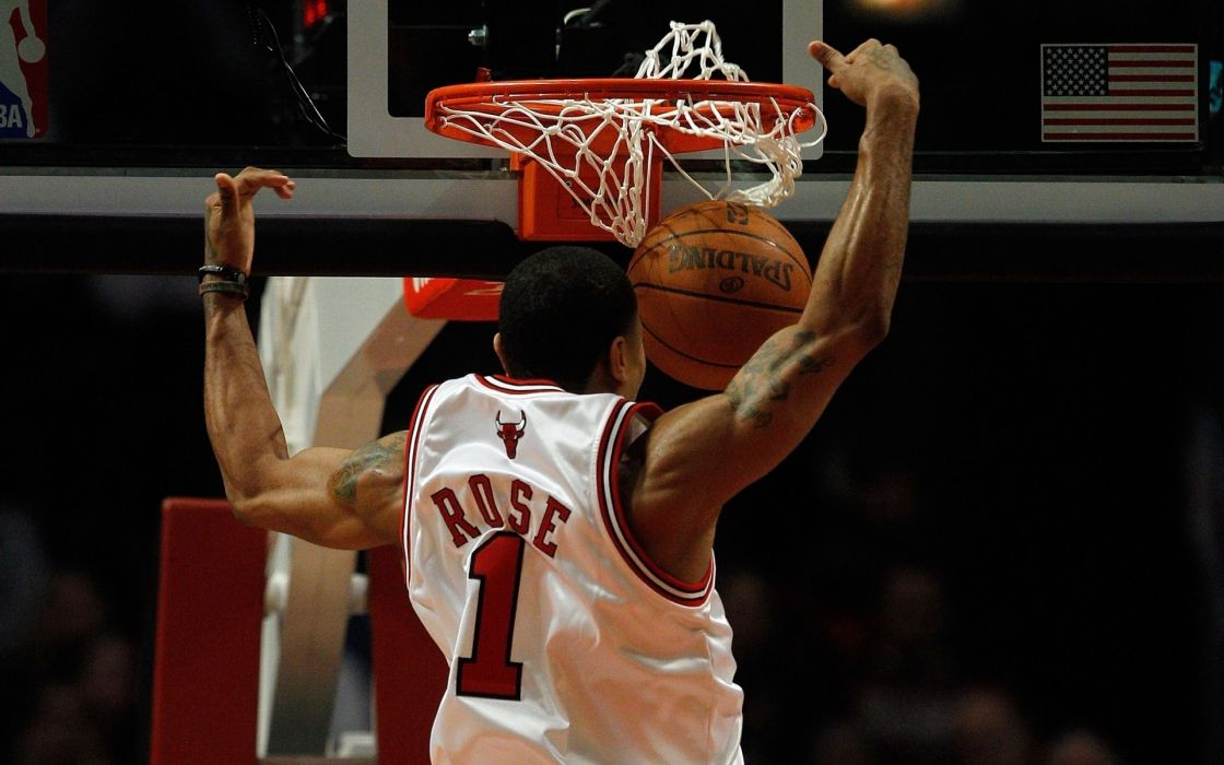 sports slam dunk nba basketball derrick rose chicago bulls wallpaper