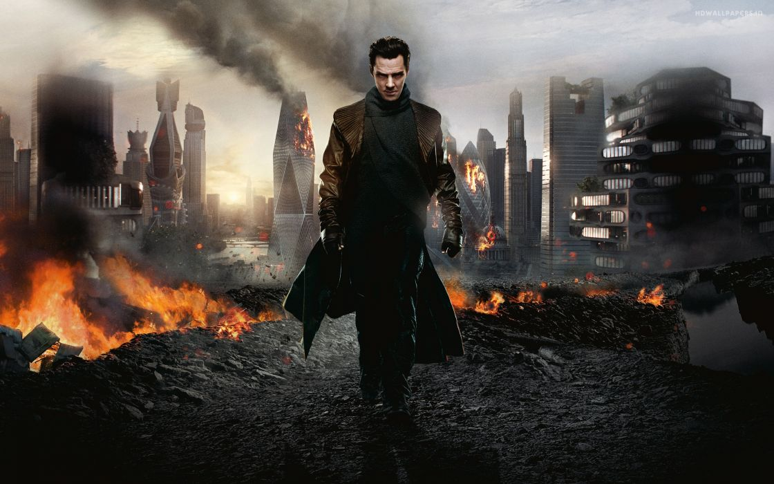 Star Trek Into Darkness Future Buildings Fire Benedict Cumberbatch Khan apocalyptic fire sci-fi wallpaper