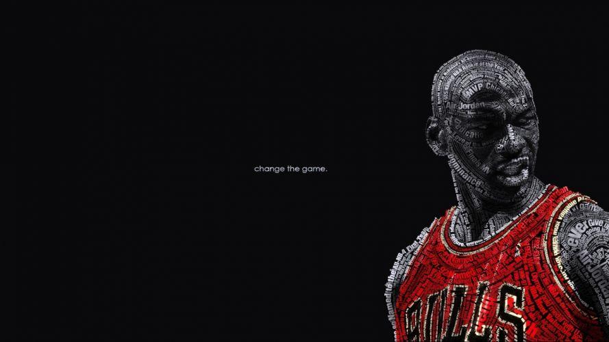 text wall typography the game change nba basketball michael jordan chicago bulls wallpaper